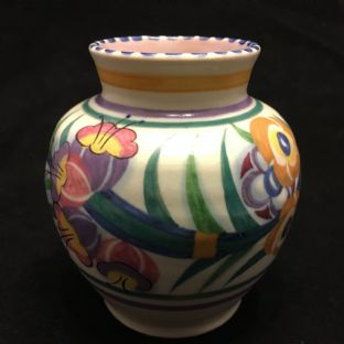 Early Poole Pottery Small Vase, Pink Slip c1934, Hand Painted by Myrtle Bond.